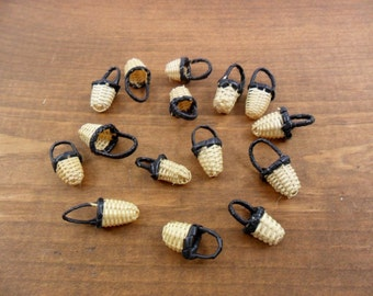 """15 Baskets Miniature Wicker Baskets Black Handle 3/4"""" H x 3/8"""" W"""