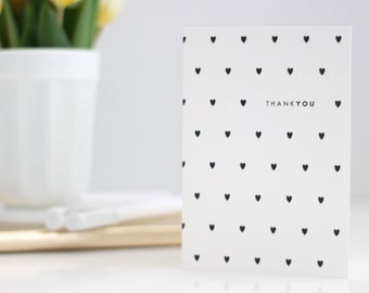 Thank you card / thank you hearts / black heart pattern / thanks / thank you black hearts / thank you cards / sending thanks / greeting card