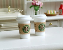 Miniature Beverage Cafe Take-out coffee Drinks for 1:6 scale & 1/8 scale Dolls BJD Barbie Blythe Party Picnic, DIY craft Food Jewelry