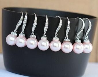 pearl earring  7 pairs of pink earrings , bridesmaid pink pearl earring