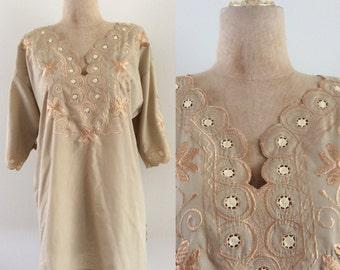 1970's Tan Embroidered Hippie Boho Top Plus Size Vintage Blouse Shirt Size XL XXL Large by Maeberry Vintage