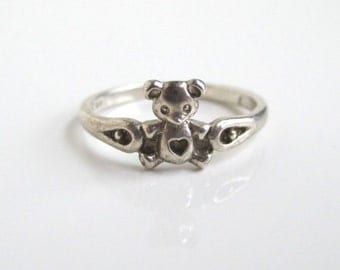 Teddy Bear 925 Sterling Silver Ring - Vintage, Size 4