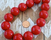 25mm Red Gumball Beads Strand Fourth of July Jewelry Supplies