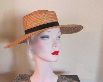 VINTAGE 1950's Era Natural Straw Wide/  Large Brim Portrait Summer Hat