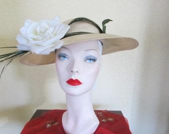 VINTAGE 1950's 1960's JACK MCCONNELL Natural Straw Large Brim Portrait Wide Brim Hat with Rose---0000027