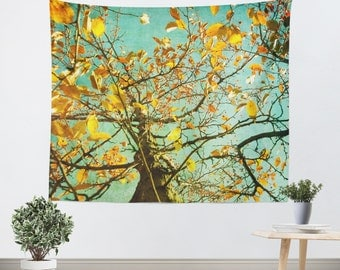 Art Tapestry Wall Hanging A Different Perspective Modern Photography Unique home decor mustard yellow abstract tree dark green aqua blue sky
