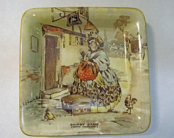 Sairey Gamp square trinket tray New Hall Hanley Staffordshire England