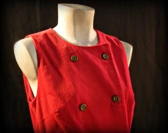 Red Corduroy Jumper Dress