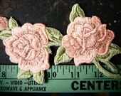 Vintage ROSE APPLIQUE Patch 1980's Peach Roses w Stems PATCHES