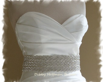 Rhinestone Wedding Belt, Wedding Dress Sash, 18 Inch Rhinestone Crystal Bridal Sash, Wide Wedding Sash, Braided Bridal Belt, No. 3010S3-18