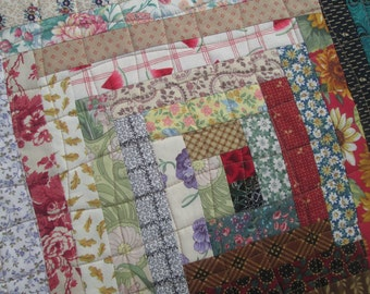 Quilted Spring Log Cabin Table Topper