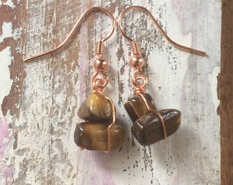 Tigers Eye Copper Wrapped Earrings