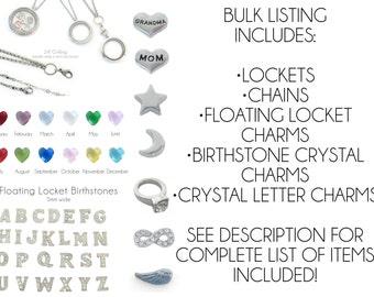 BULK Destash, Floating Locket Charms, Lot, Floating Lockets, Chains, Jewelry Destash, Bulk Charms, Wholesale Charms