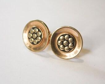 Hickok Circular Gold Tone Cuff Links