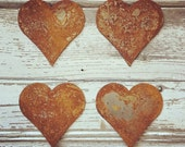Rusty Metal Hearts Industrial Metal Rustic  Wedding Decor by Junk Love and Co