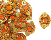 Indian Designer Traditional Ethnic Orange Appliques Sewing Dress Making Material Women Wedding Dress Embellishment Patches 12 Pcs SAP212B