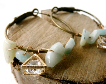 Delicate green amazonite and cristal stone oriental earrings ( brass antiqued, indie , dream ) 01