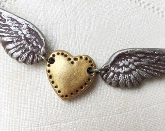 Winged Heart in Silver and Gold - Clay necklace