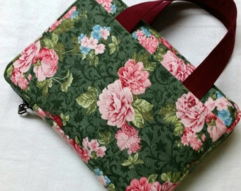 Bible Cover Custom Fit Pink Peonies on Green