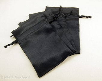 30 4x6 Black Satin Bags with Drawstrings - Wedding Favor Bags, Sachets, Gift Bags, Jewelry Bags