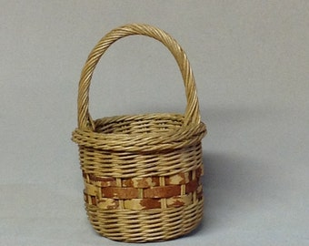 Small Round Hand Woven Basket,  Wrapped Handle, Gretchen Border