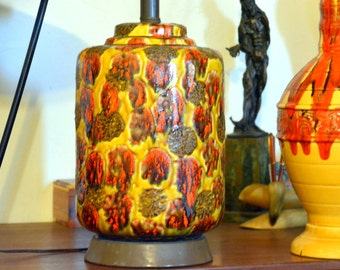 Vintage Ceramic Drip / Volcanic Glaze Table Lamp: Midcentury Mod California Pottery Fixture in Mustard, Orange & Brown -- Flawless Condition