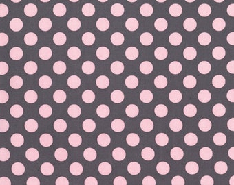 Bloom Ta Dot by Michael Miller Fabrics | Gray and Pink | By the Yard