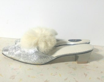 Fantastic Fuzzy House Shoes 1950's-60's Mad Men Slipper Shoes