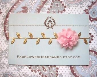 Newborn Pink Flower with Gold Leaves Headband - Grecian Headband - Baby Gold Leaf - Golden Leaves Headband - Newborn Gold Leaves Halo