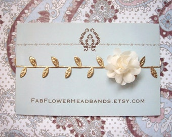 Newborn Ivory Flower with Gold Leaves Headband - Grecian Headband - Baby Gold Leaf - Golden Leaves Headband - Newborn Gold Leaves Halo