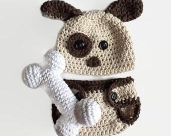 Puppy hat, crochet puppy hat, baby puppy hat, newborn puppy hat, newborn photo prop, dog hat, infant dog hat, crochet dog hat, newborn hat