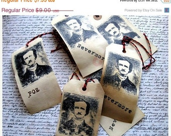 Edgar Allan Poe Hang Tags - Tea Dyed - set of 6