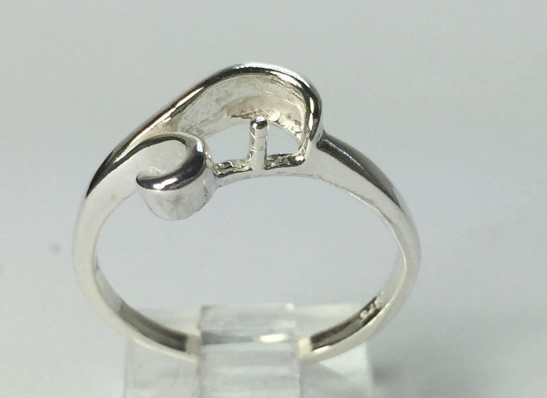 sterling silver 4 8mm half drilled pearl ring setting size 5. Black Bedroom Furniture Sets. Home Design Ideas