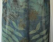 New silk scarf .Habotai silk scarf.Handmade. Eco print .Leaf pattern. Scarf. Eco dye.Multicolor.Brown,dark cyan,blue,sea-green, grey color