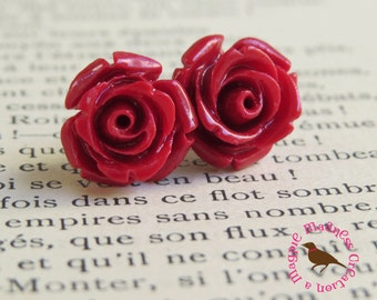 Red Rose Stud Earrings, Red Rose Post Earrings, Rose Flower Stud Earrings, Cottage Chic, Red Rose, by MagpieMadness for Etsy
