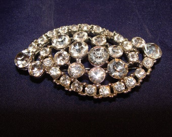 Vintage Large Rhinestone Brooch Pin