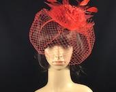 Red Feather Fascinator, Red Derby Fascinator Hat, Kentucky Derby Hat, Church Hat, Wedding Hat, Dress Hat, Tea Party Hat