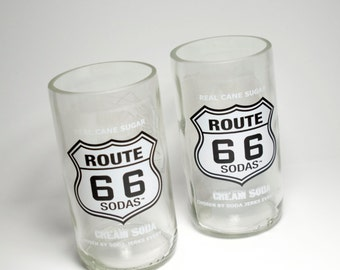 Route 66 Cream Soda Bottle Drinking Glasses Tumblers