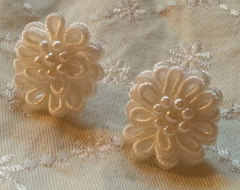 White pearl beaded soutache post earrings