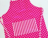 Kids apron, childs apron, childrens apron, toddler apron, small apron, little apron, pink polka dots