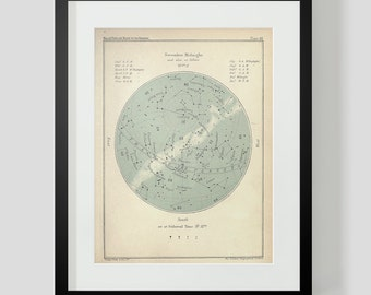 November Constellation Star Chart Popular Guide to the Heavens Art Print 49