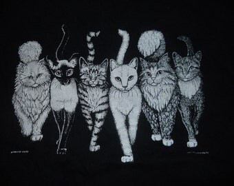 Vintage 1980s Cat's Coming and Going Cat Butts Hep Cat Nashville 1986 A.M. Grupke Size Large