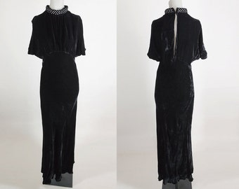 Vintage 30s Dress / 1930s Black Silk Velvet Long Bias Cut Gown with Rhinestone Collar XS S
