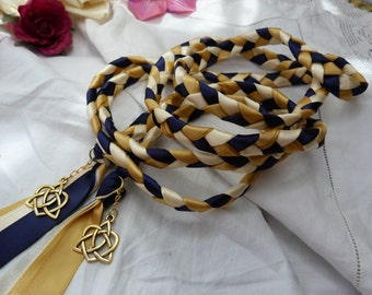 Wedding cord- navy, gold, ivory - 22k gold plated celtic love knot charms
