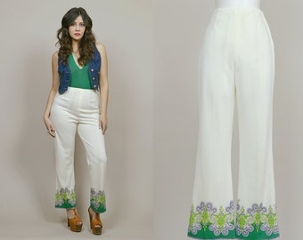 60s Pants Mr Dino Psychedelic Cream Purple Green Bell Bottoms Flares Boho High Waisted 1960s Hippie Mr Dino Mod Trousers / Size S Small