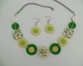 Button necklace,button jewelry,vintage necklace,light yellow green & white necklace,get earrings at the same colors for free