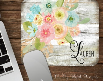 Watercolor Floral Shabby Chic Mouse Pad-Monogram Mouse Pad-Personalized Mouse Pad-Desk Accessories-Floral Mouse Pad