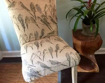 Parsons upholstered chair printed bird burlap