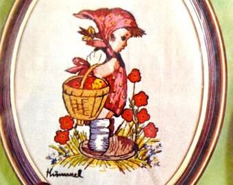 "Hummel Peasant Children Crewel Kit – Girl Only – Paragon Needlecraft No. 0232 – Exquisite ""Hummel"" Stitchery – 9"" x 12"""