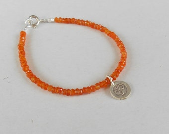 Healing Carnelian bead bracelet with silver 925 charm mantra OM   /  7 inches long